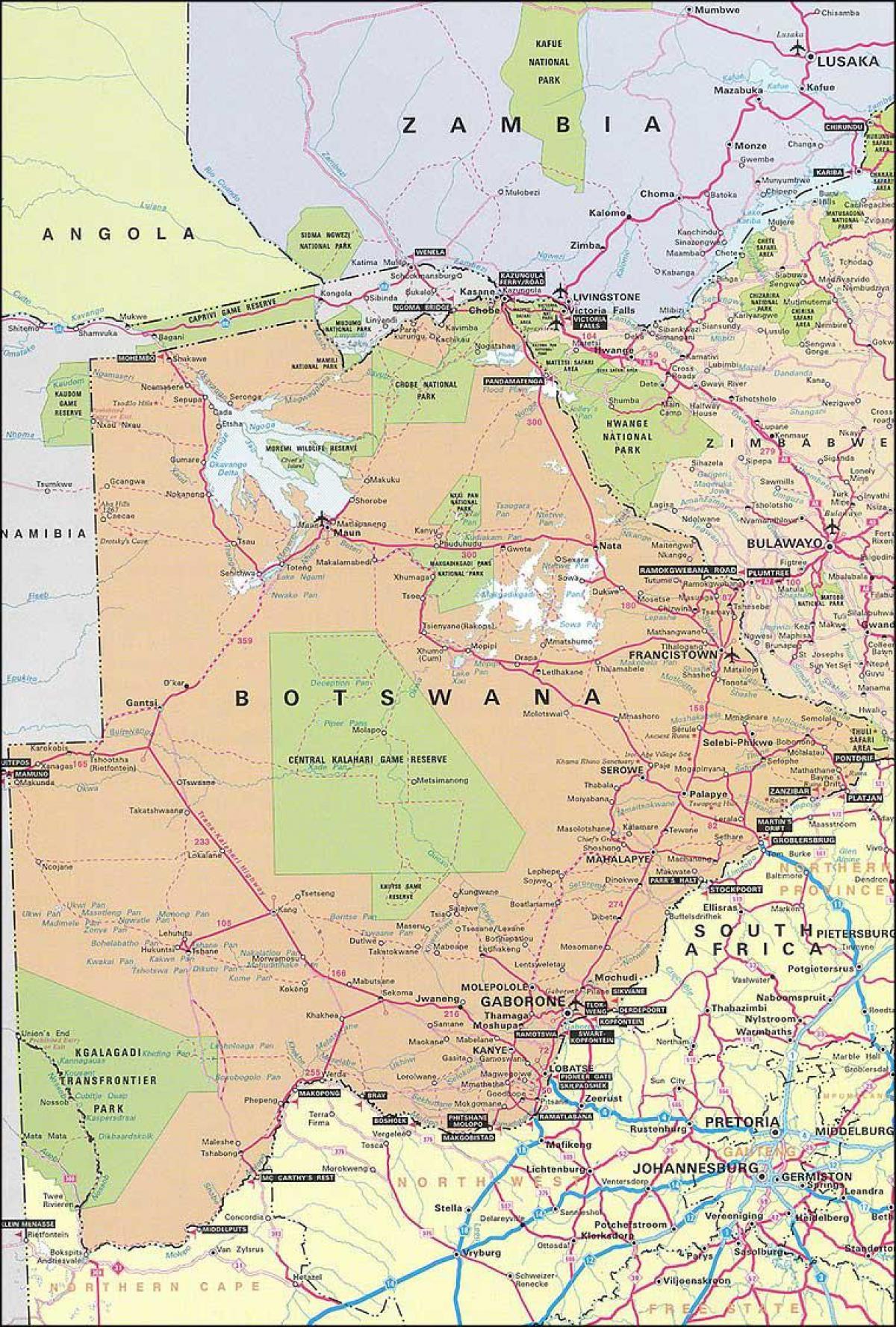 Karta Cesta Bocvana Karta Karta Cesta Bocvana Juzna Afrika Afrika